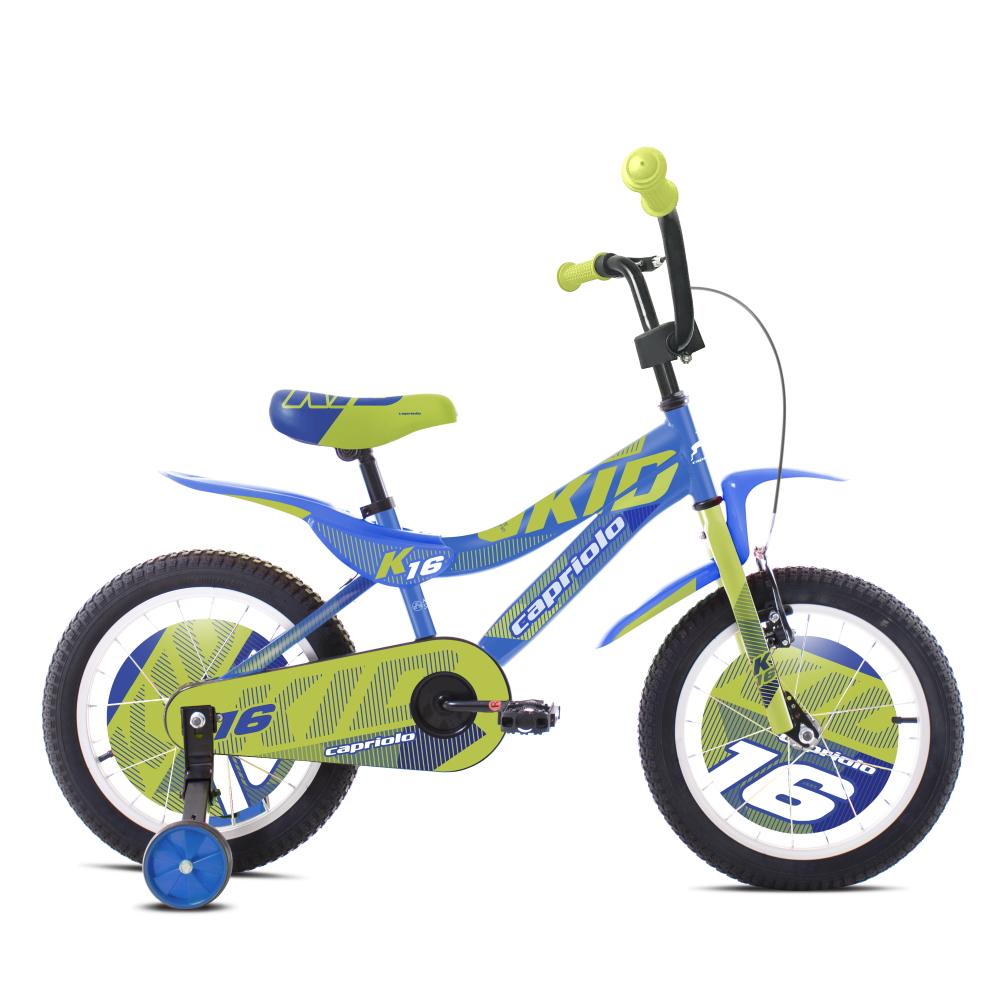 """Dětské kolo Capriolo Kid 16"""" - model 2021 modro-limetková"""