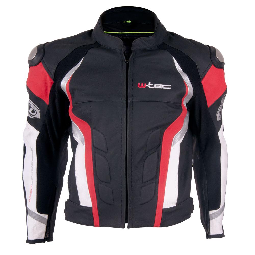 Pánská kožená moto bunda W-TEC Velocity černo-červená - S