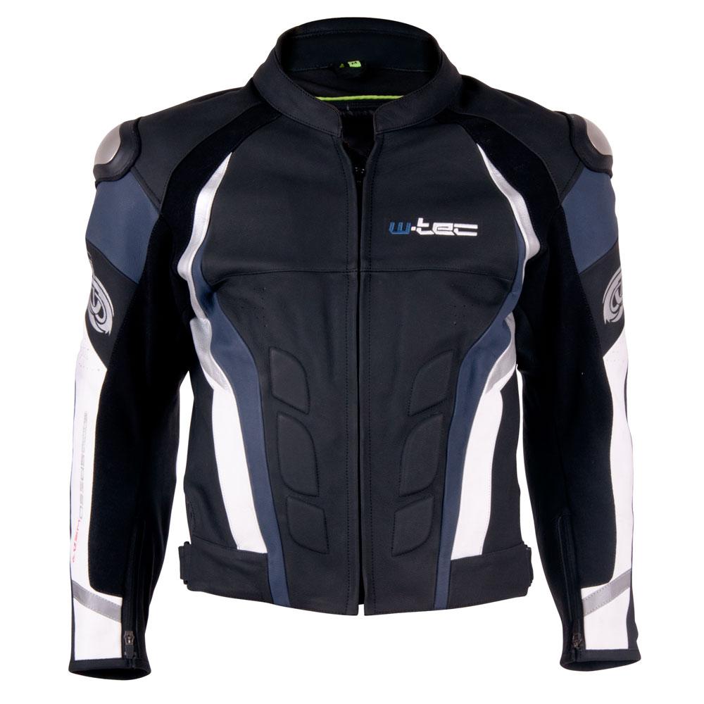 Pánská kožená moto bunda W-TEC Velocity černo-modrá - 3XL