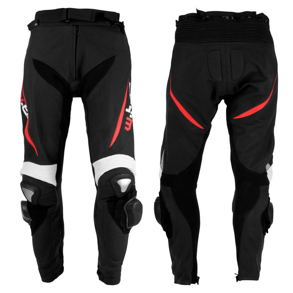 Pánské kožené moto kalhoty W-TEC Vector černo-červená - S