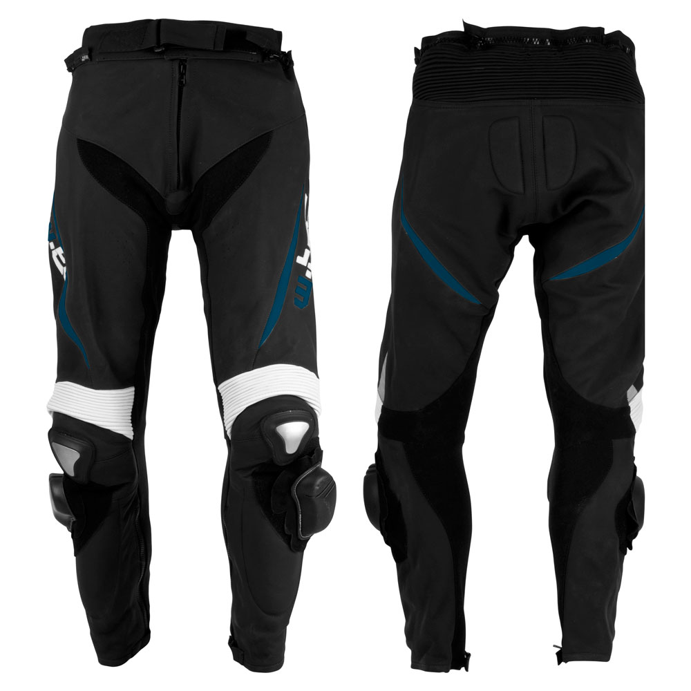 Pánské kožené moto kalhoty W-TEC Vector černo-modrá - S
