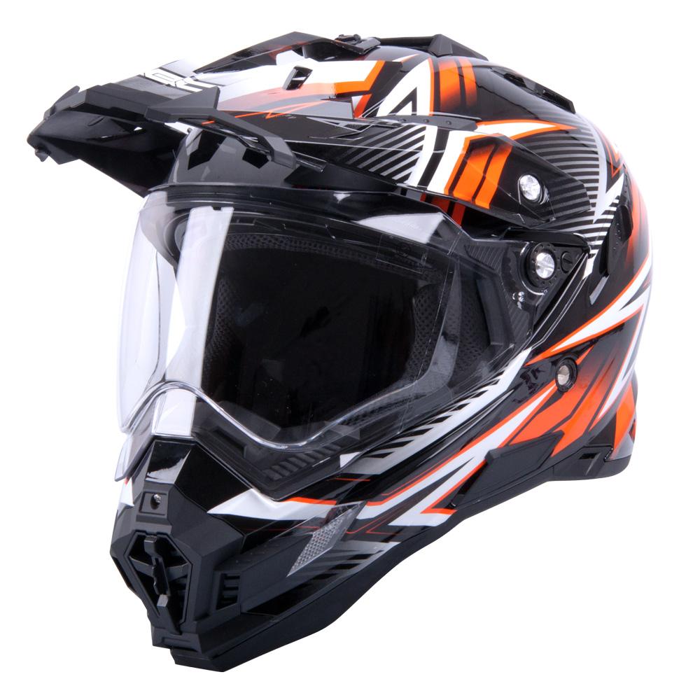 Motokrosová přilba W-TEC AP-885 graphic černo-oranžová - XL (61-62)