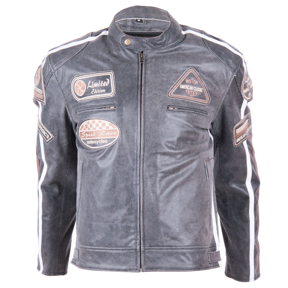 Kožená moto bunda BOS 2058 Vintage Grey šedá - S