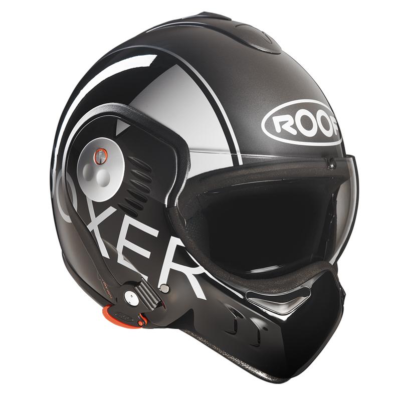 Moto přilba Roof Boxer V8 Grafic černo-šedá - S (55-56)