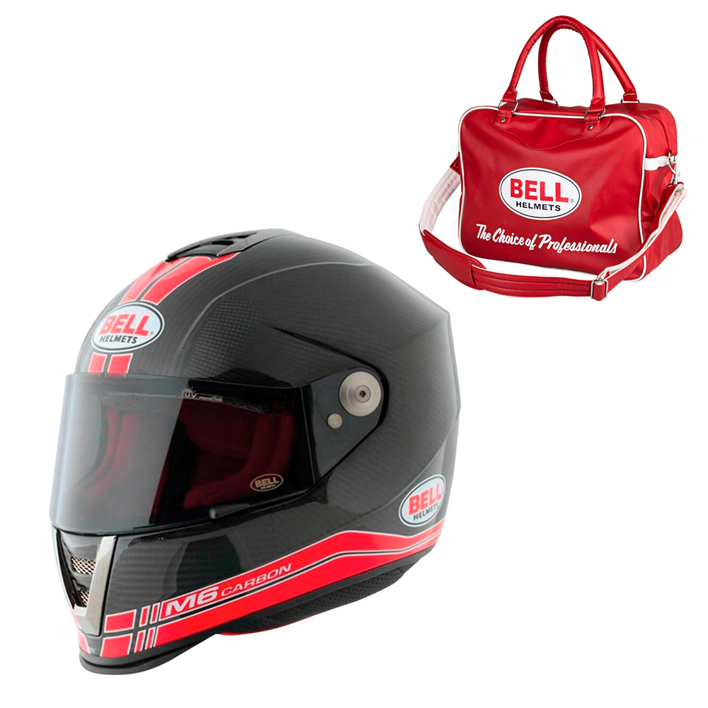 Moto přilba BELL M6 Carbon Race Red XL (61-62) - Záruka 5 let