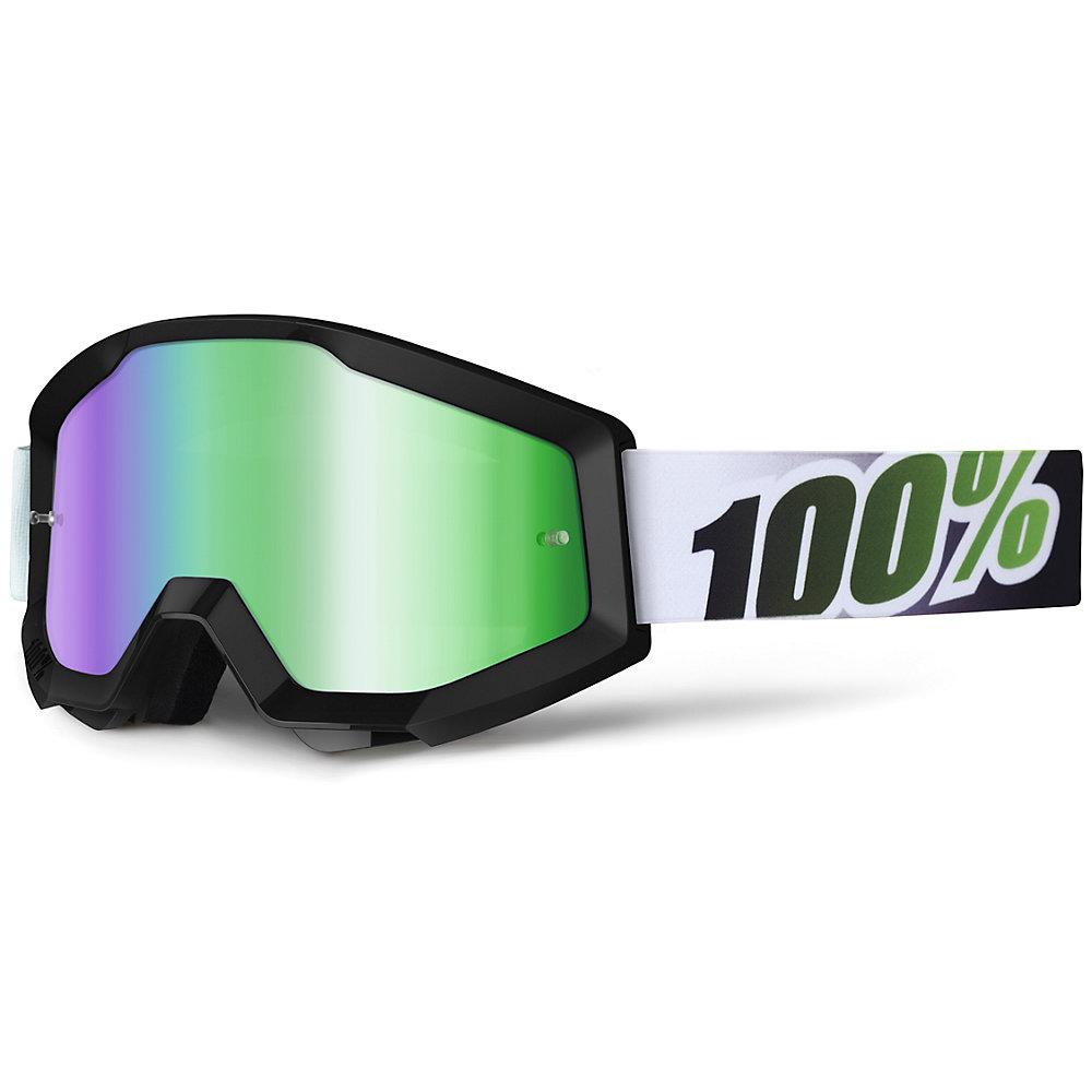 Motokrosové brýle 100% Strata Black Lime černá, zelené chrom plexi s čepy pro slídy