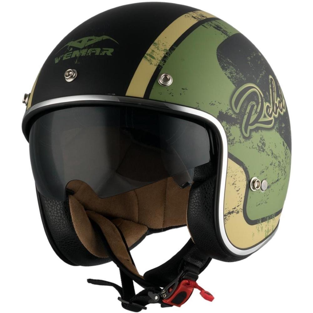 Moto přilba Vemar Chopper Rebel černá matná/zelená/krémová - XS (53-54)
