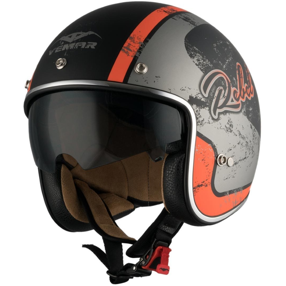 Moto přilba Vemar Chopper Rebel černá matná/oranžová/stříbrná - XS (53-54)