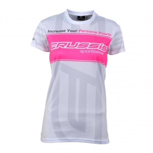 Dámské triko s krátkým rukávem CRUSSIS bílé bílo-růžová - S