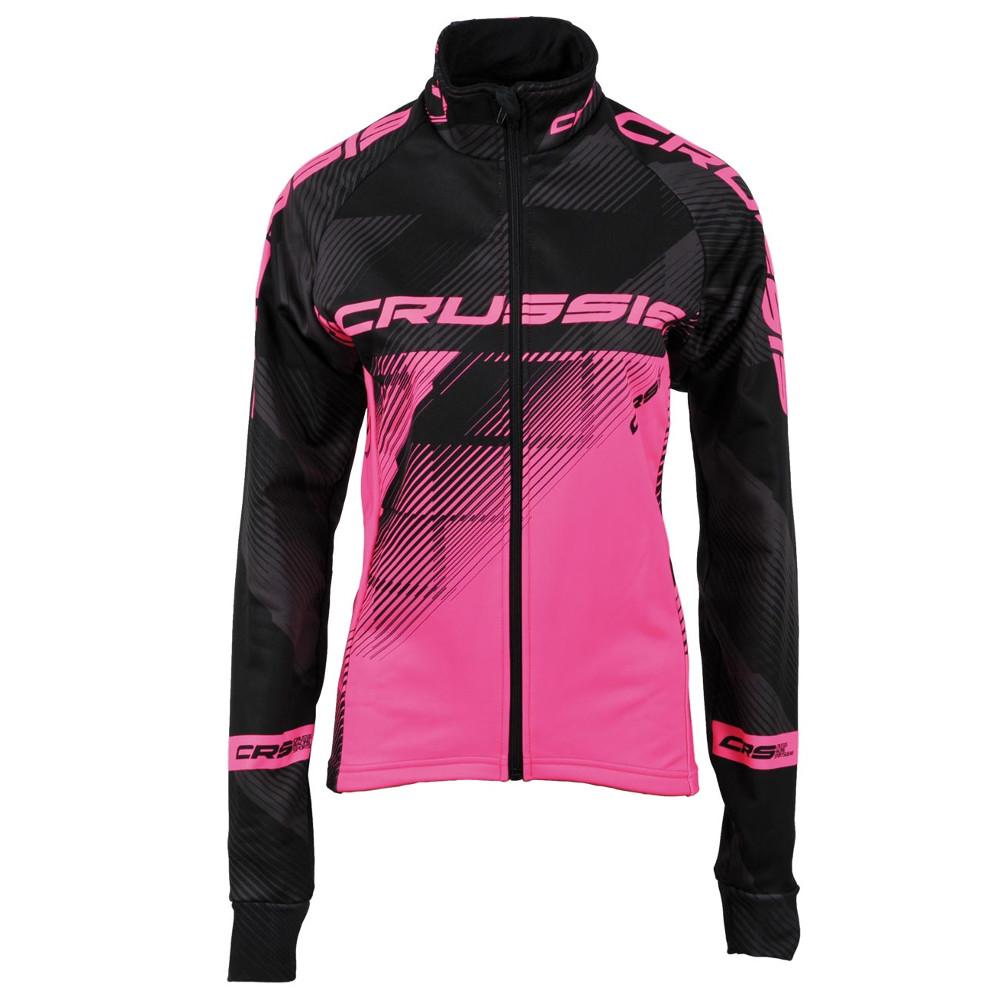 Dámská cyklistická bunda CRUSSIS černo-fluo růžová černo-růžová - XS