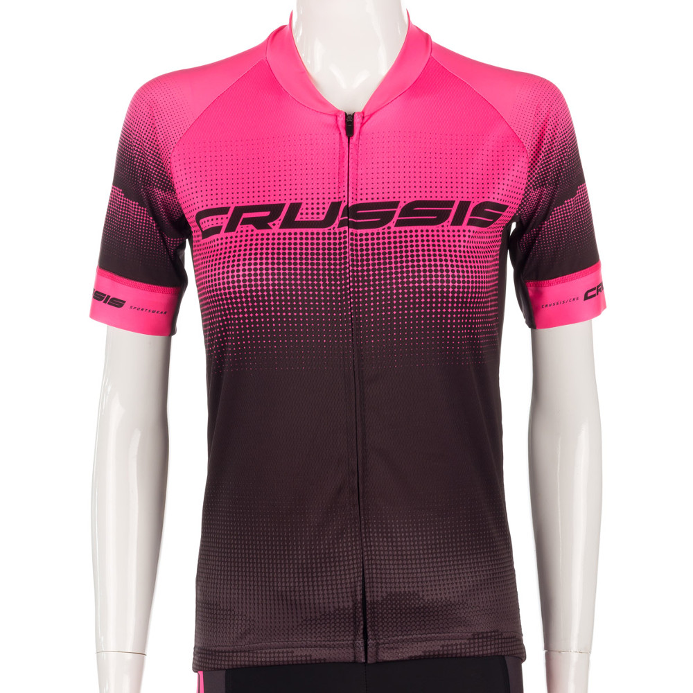 Dámský cyklistický dres s krátkým rukávem Crussis  černo-růžová  L
