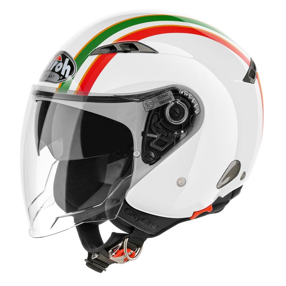 Moto přilba Airoh City One Style bílá/zelená/červená - S (55-56)
