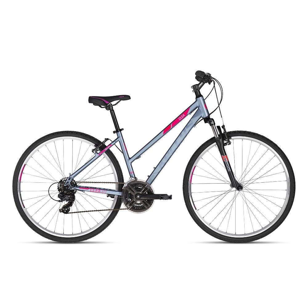"""Dámské crossové kolo KELLYS CLEA 10 28"""" - model 2018 Grey Pink - 17"""" - Záruka 10 let"""