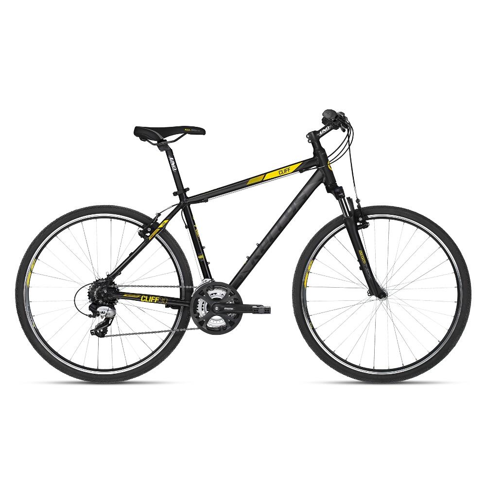 "Pánské crossové kolo KELLYS CLIFF 30 28"" - model 2018 Black Yellow - 17"" - Záruka 10 let"