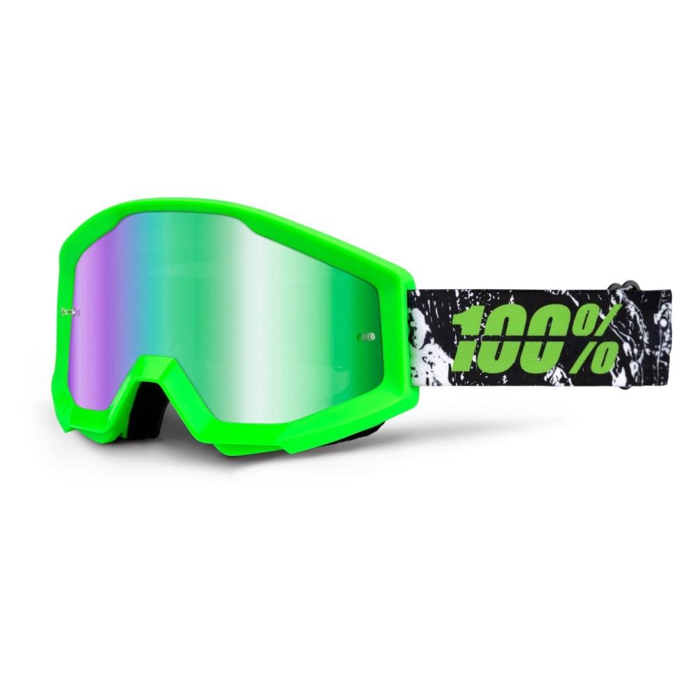 Motokrosové brýle 100% Strata Crafty Lime zelená, zelené chrom plexi s čepy pro slídy