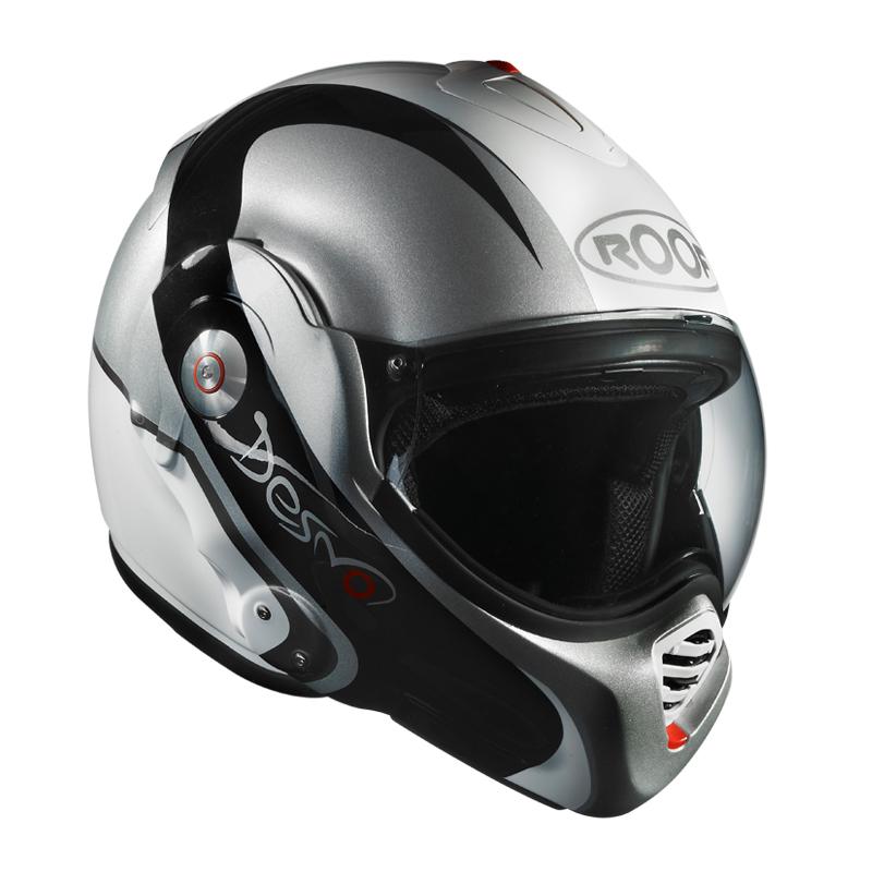 Moto přilba Roof Desmo Elico bílo-stříbrná - XL (61-62)