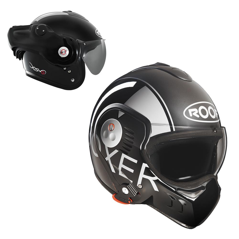 Moto přilba Roof Boxer V8 Grafic černo-šedá - XL (61-62)