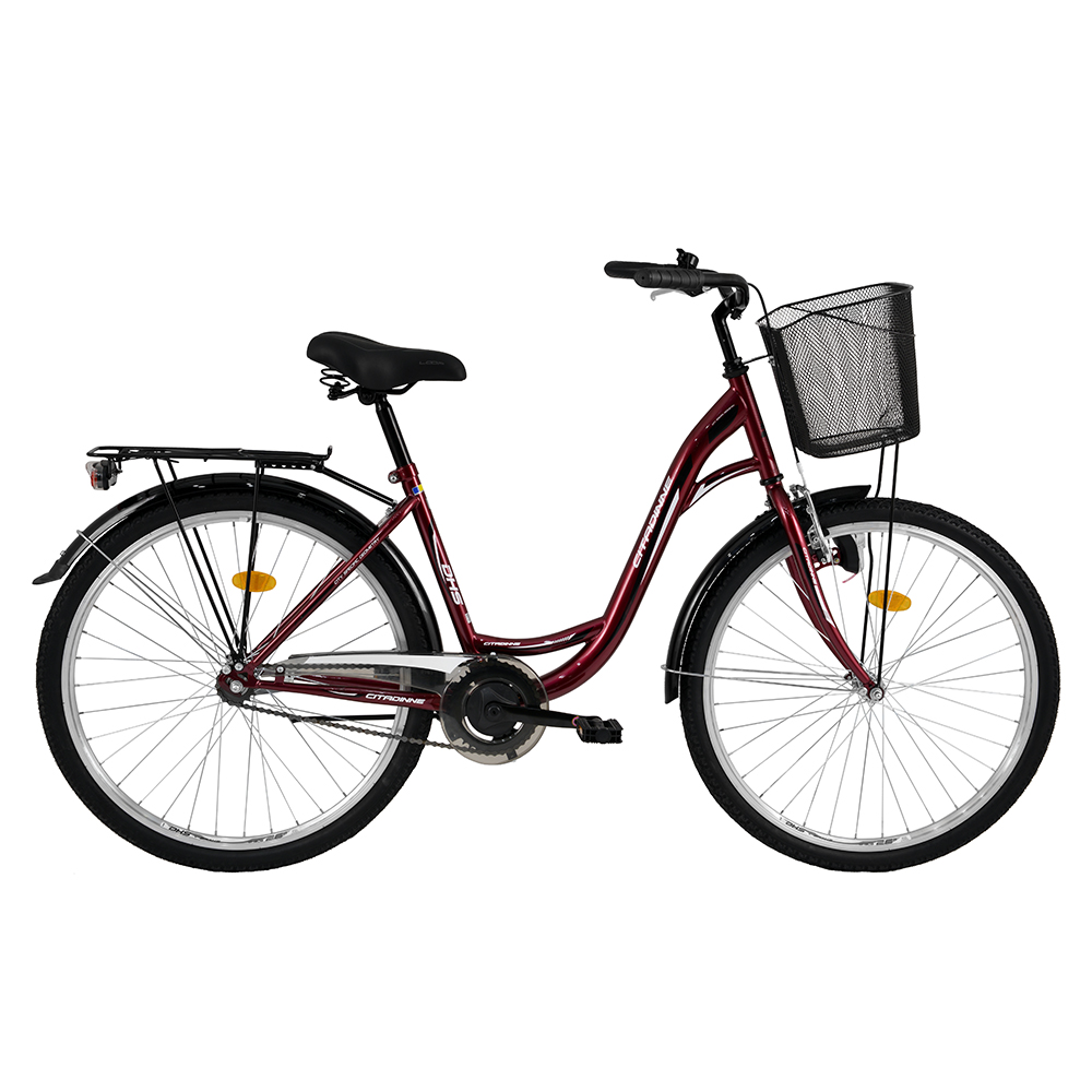 "Městské kolo DHS Citadinne 2632 26"" - model 2016 Dark red-Black-White - 19"""
