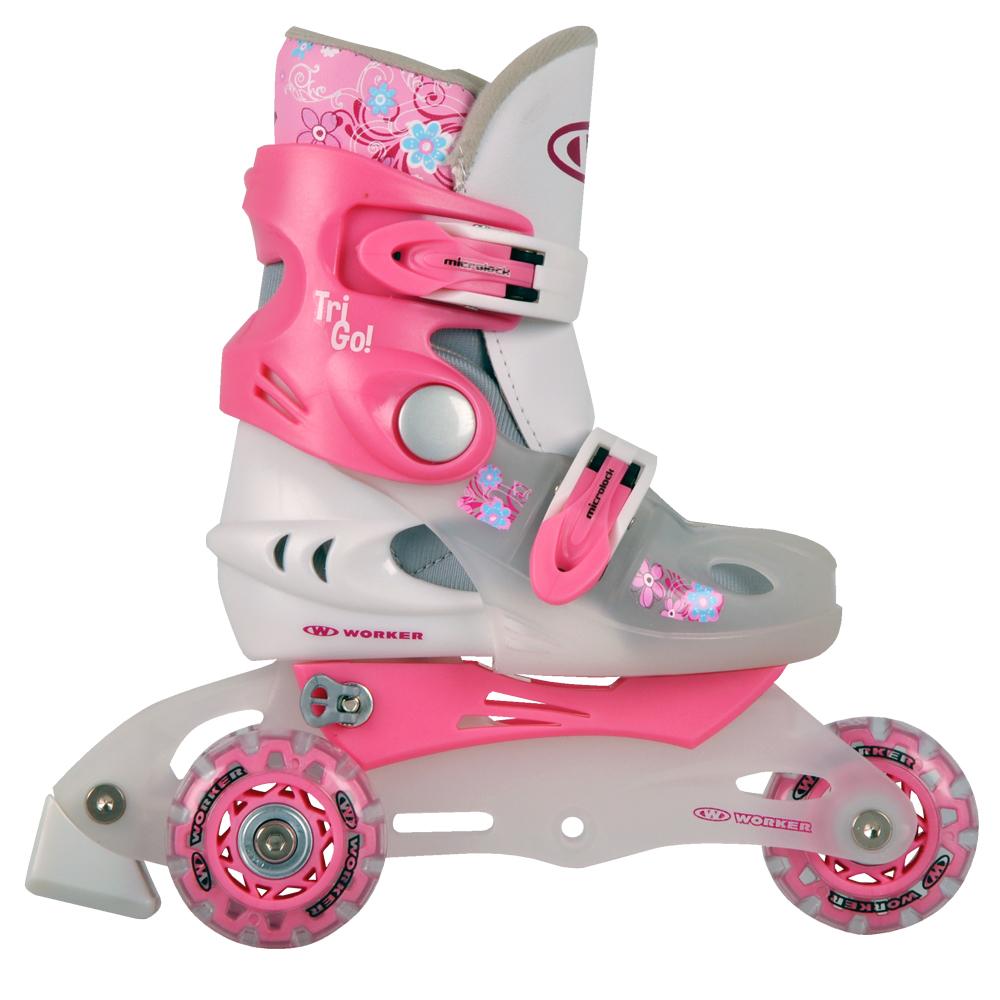 Dětské kolečkové brusle WORKER TriGo Skate růžová - XS (26-29)