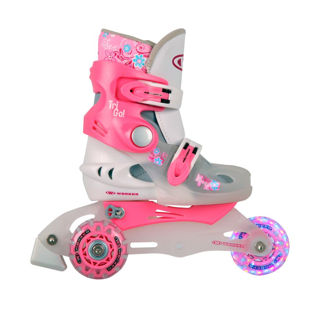 Dětské kolečkové brusle WORKER TriGo Skate LED - se sv. kolečky růžová - XS (26-29)