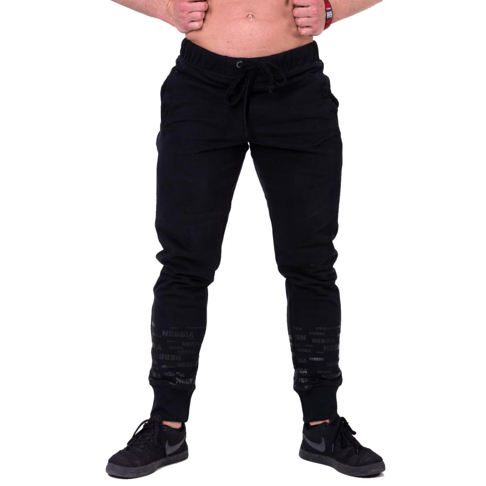 Pánské tepláky Nebbia Gym Hero Joggers 153 Black - M