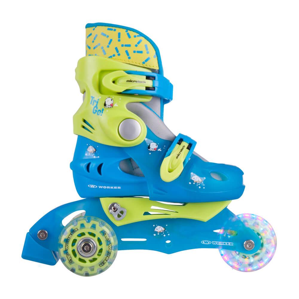 Dětské kolečkové brusle WORKER TriGo Skate LED - se sv. kolečky modrá - XS (26-29)