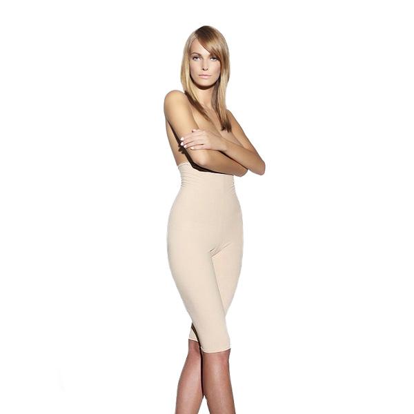 Dámské zeštíhlující kalhoty s vysokým pasem inSPORTline Revolution Slim béžová - XS-S (74-84)