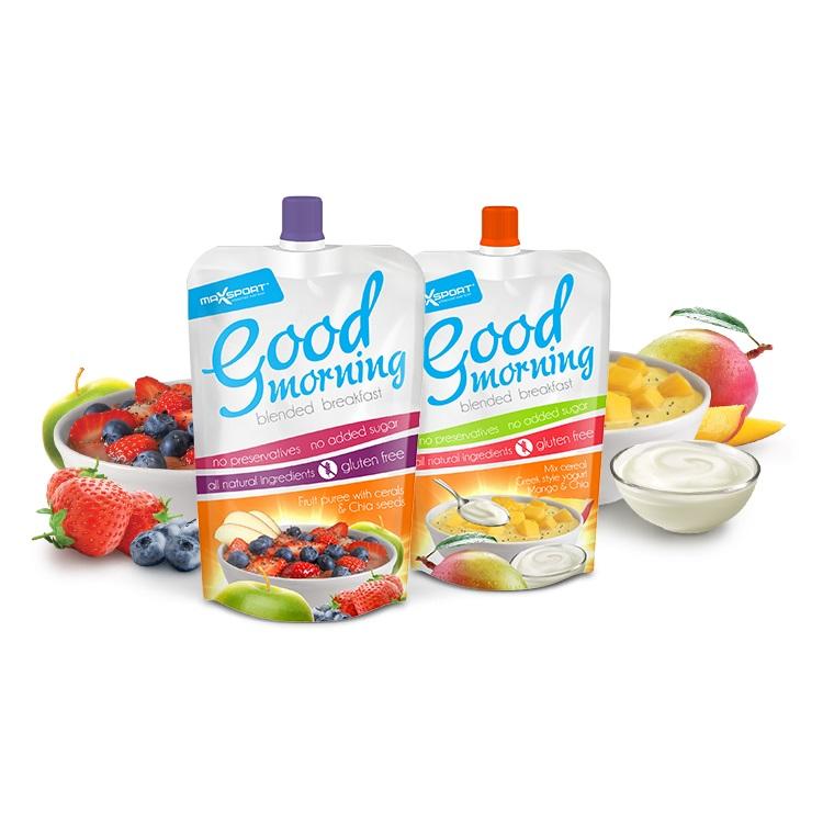 Snídaňové ovocné pyré MAX SPORT Good morning mango + řecký jogurt + cereálie + chia semínka