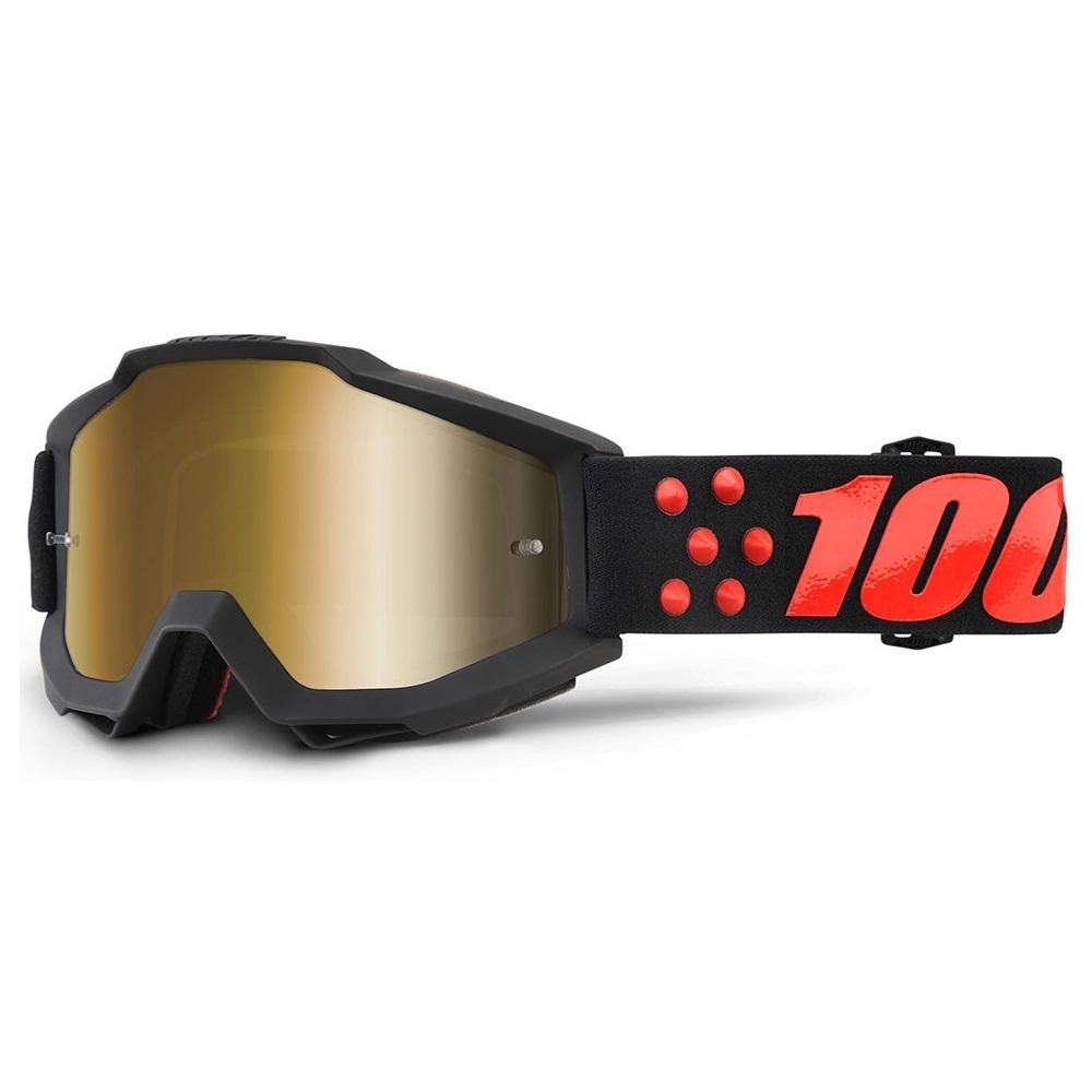 Motokrosové brýle 100% Accuri Gernica černá, zlaté chrom plexi + čiré plexi s čepy pro slídy