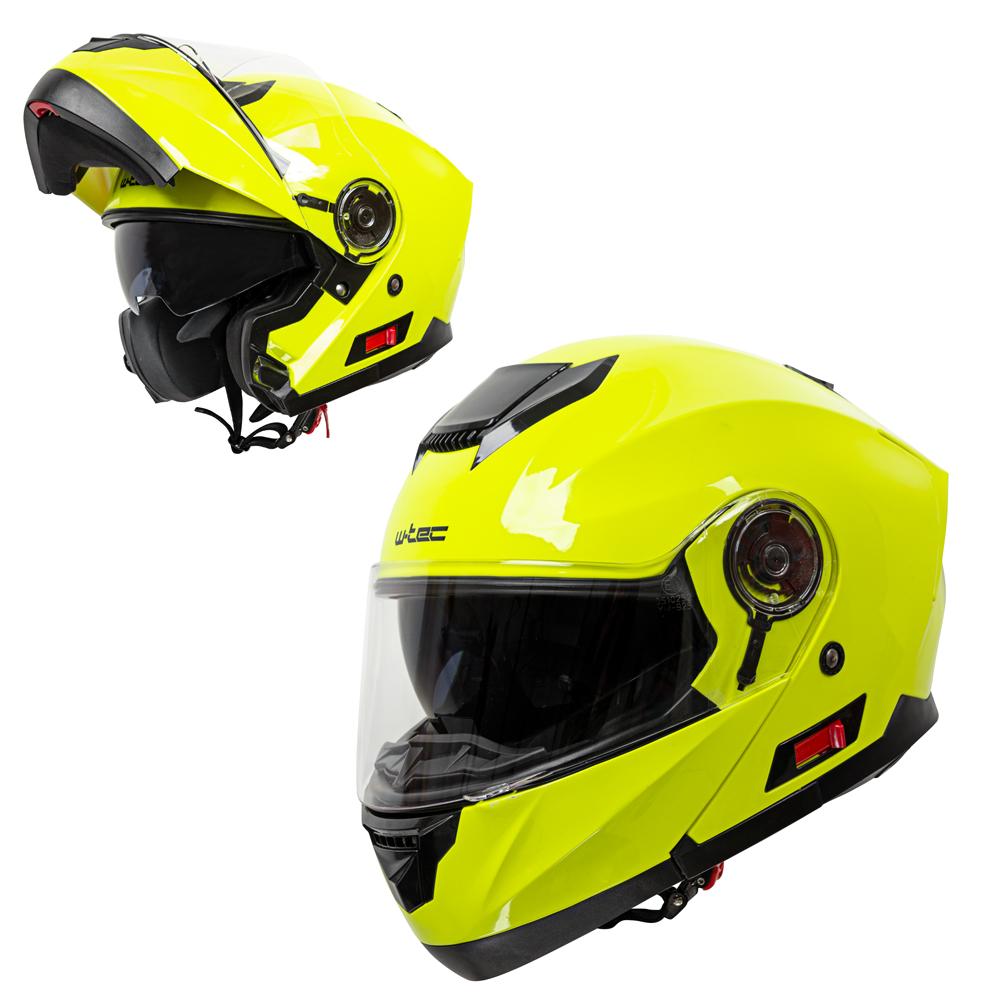 Výklopná moto přilba W-TEC Lanxamo Fluo Yellow - XS (53-54)