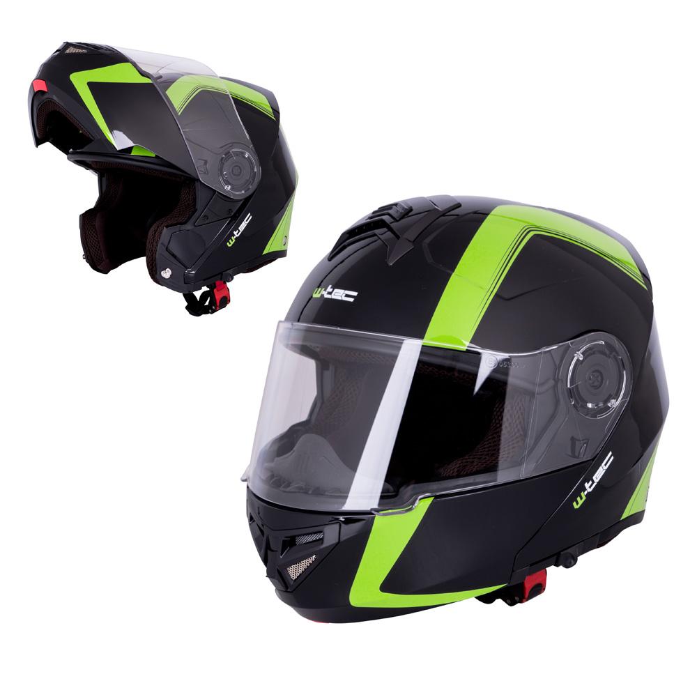 Výklopná moto helma W-TEC V270 černo-zelená - XS (54)