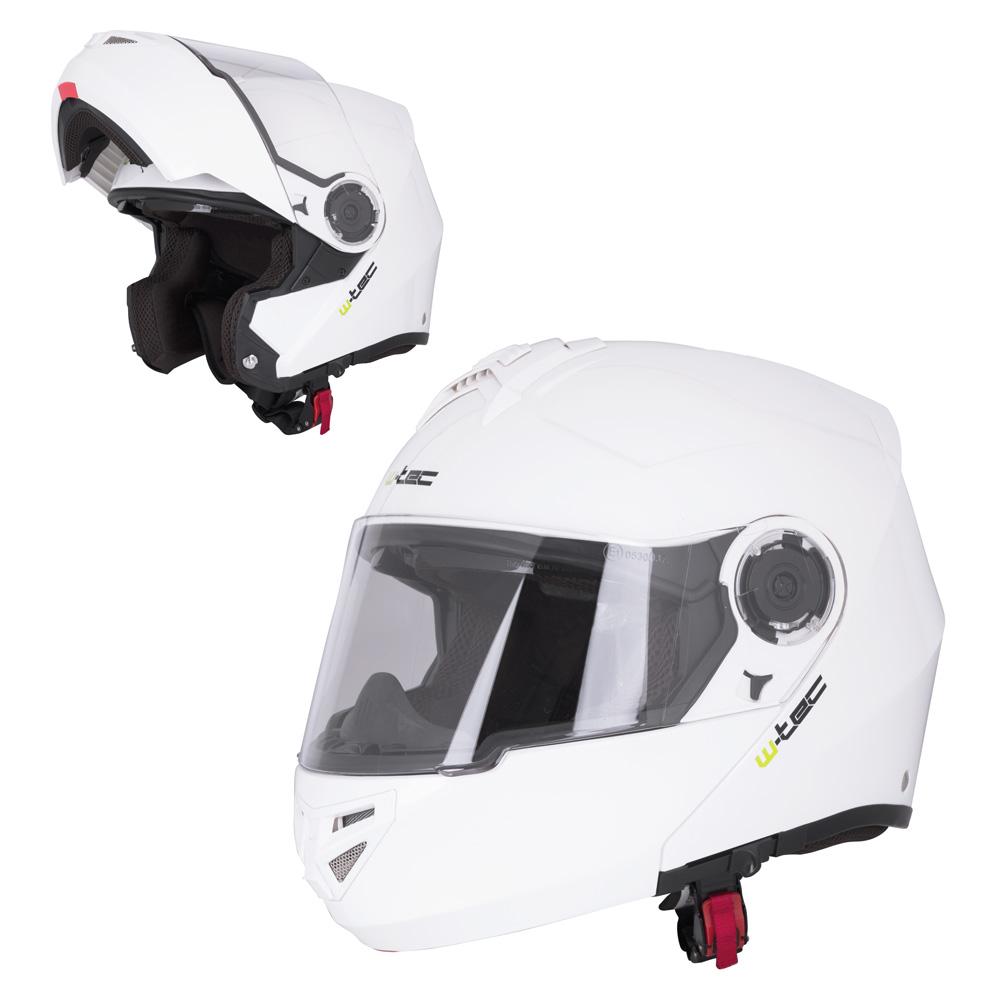Výklopná moto helma W-TEC V270 bílá - XS (54)