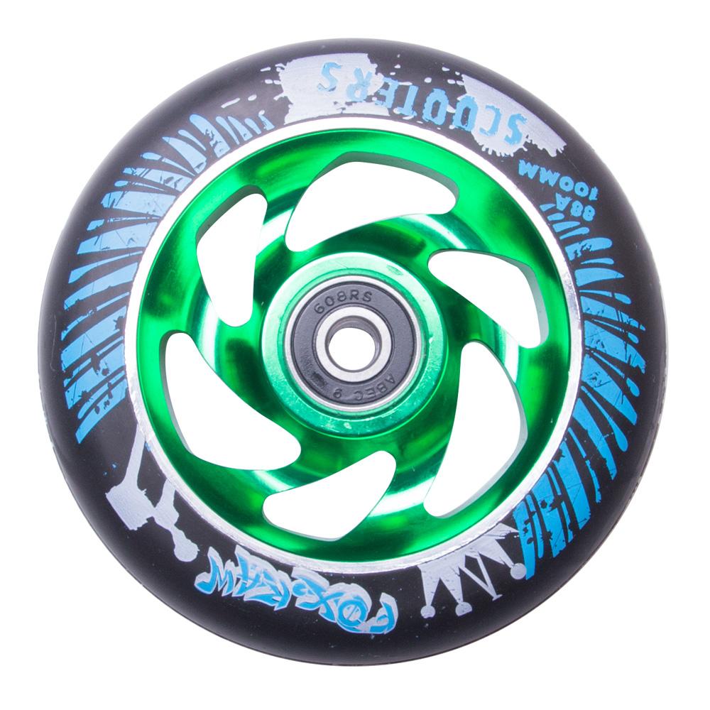 Náhradní kolečko pro koloběžku FOX PRO Raw 100 mm černo-zelená