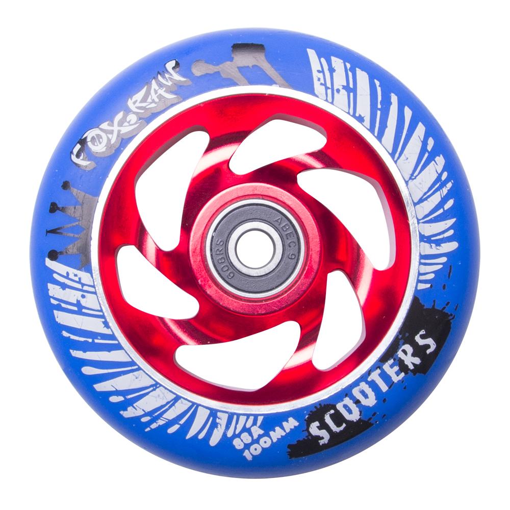 Náhradní kolečko pro koloběžku FOX PRO Raw 100 mm modro-červená