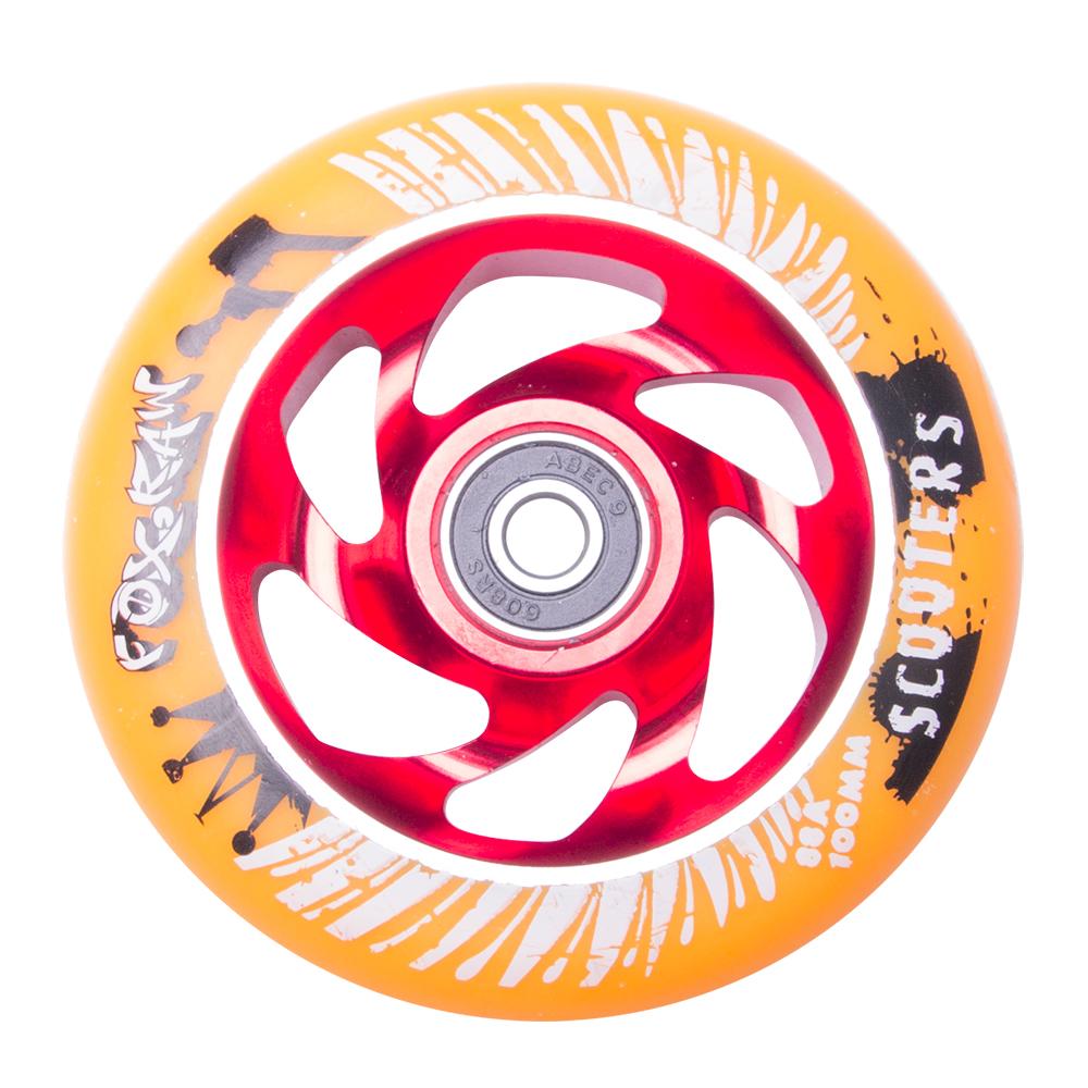 Náhradní kolečko pro koloběžku FOX PRO Raw 100 mm oranžovo-červená