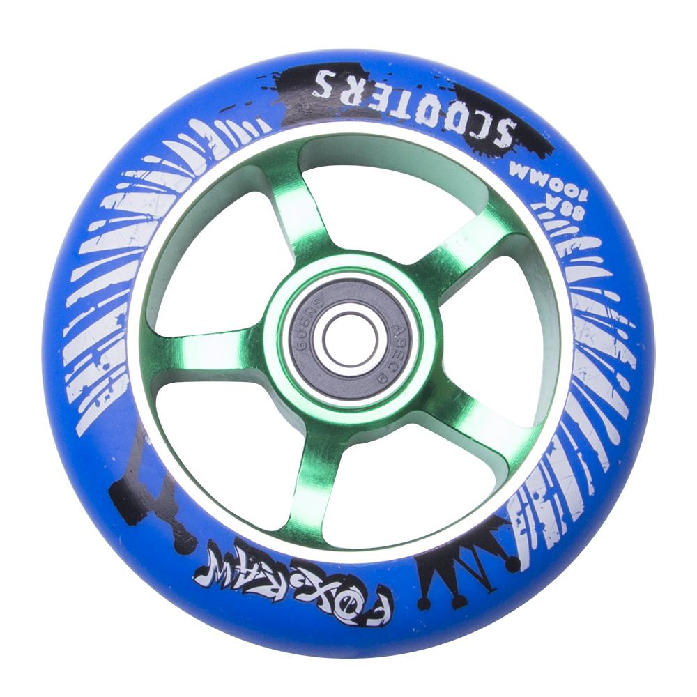 Náhradní kolečko pro koloběžku FOX PRO Raw 100 mm modro-zelená