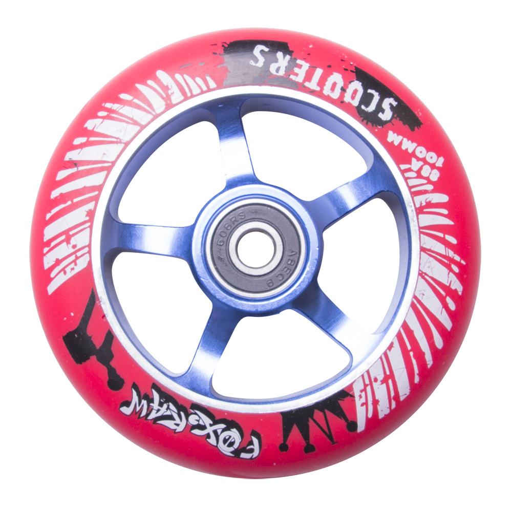 Náhradní kolečko pro koloběžku FOX PRO Raw 100 mm červeno-modrá