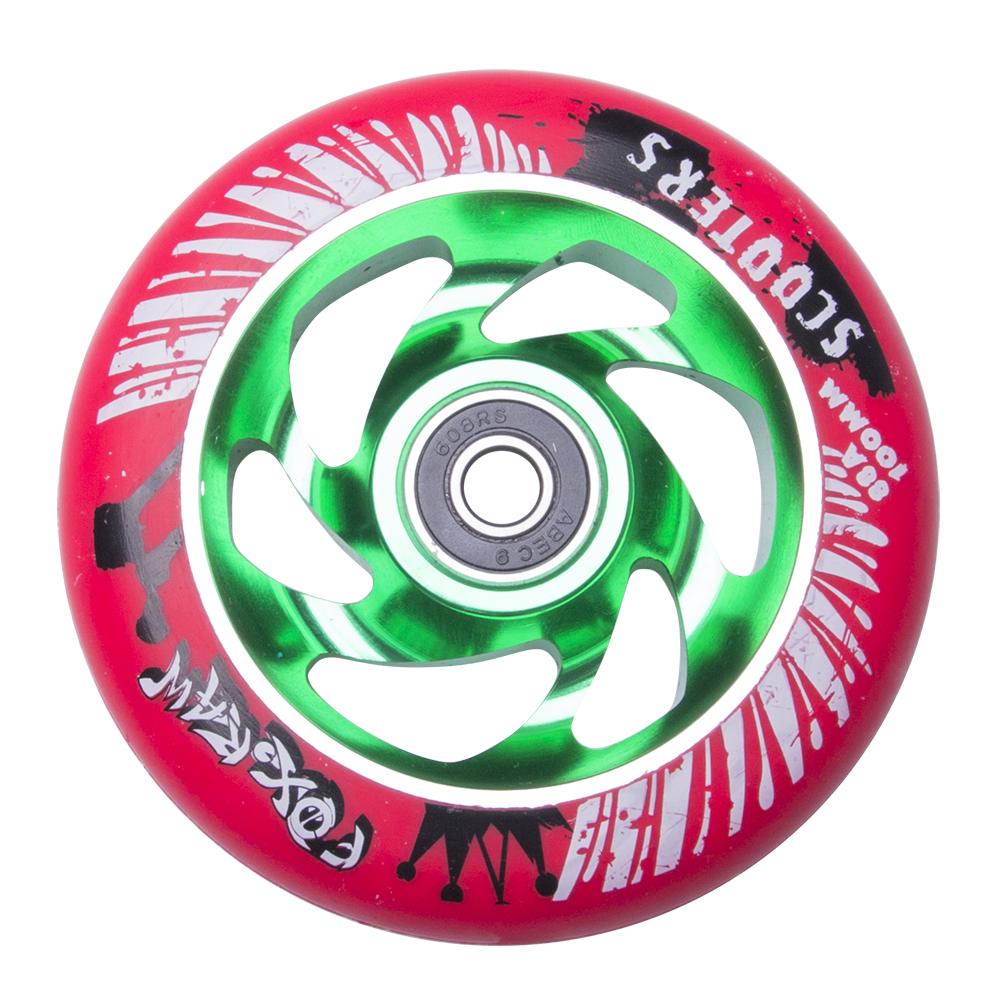 Náhradní kolečko pro koloběžku FOX PRO Raw 100 mm červeno-zelená