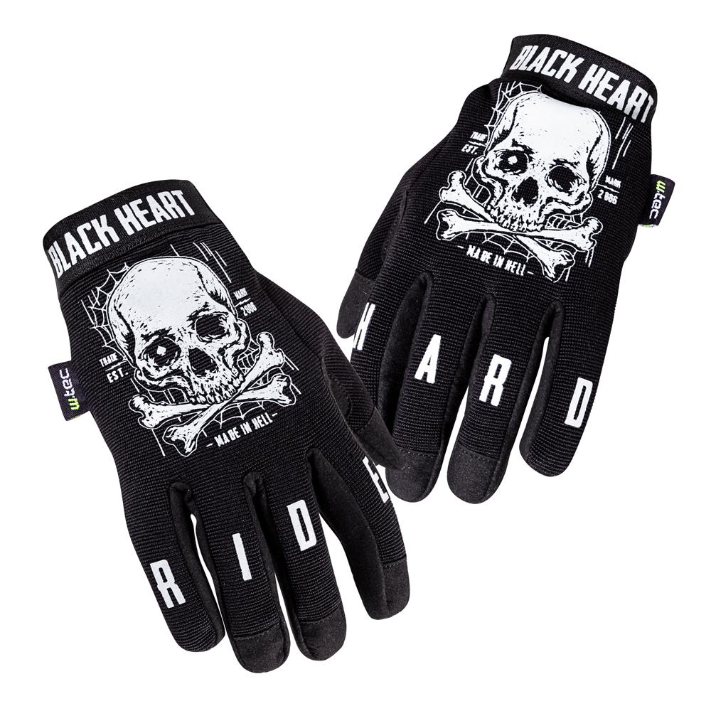 Moto rukavice W-TEC Black Heart Web Skull černá - S