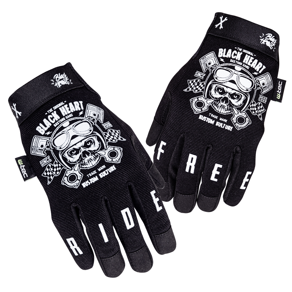 Moto rukavice W-TEC Black Heart Piston Skull černá - S