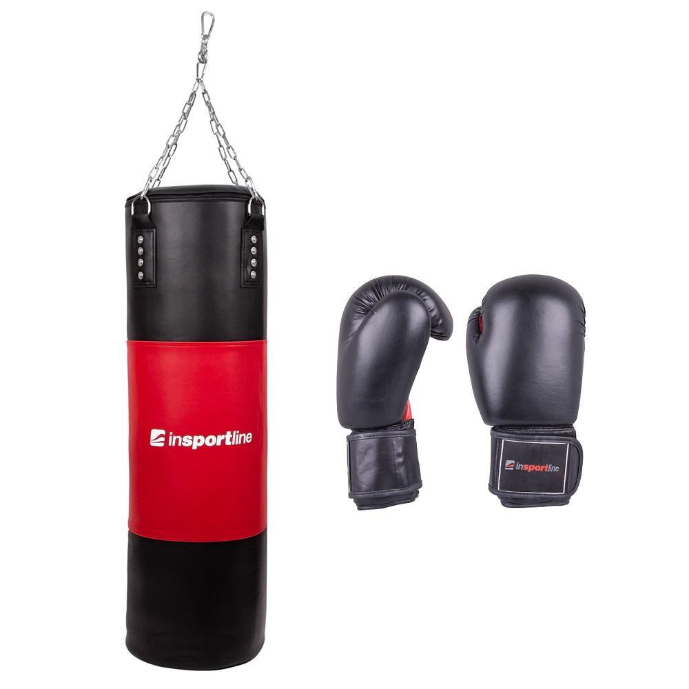 Plnící boxovací pytel inSPORTline 50-100kg s boxerskými rukavicemi černo-červená - 14oz