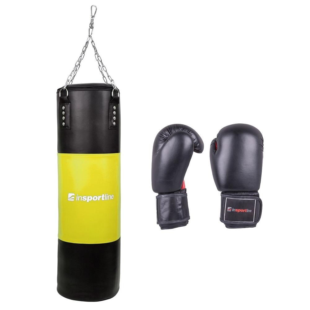 Plnící boxovací pytel inSPORTline 50-100kg s boxerskými rukavicemi černo-žlutá - 8oz