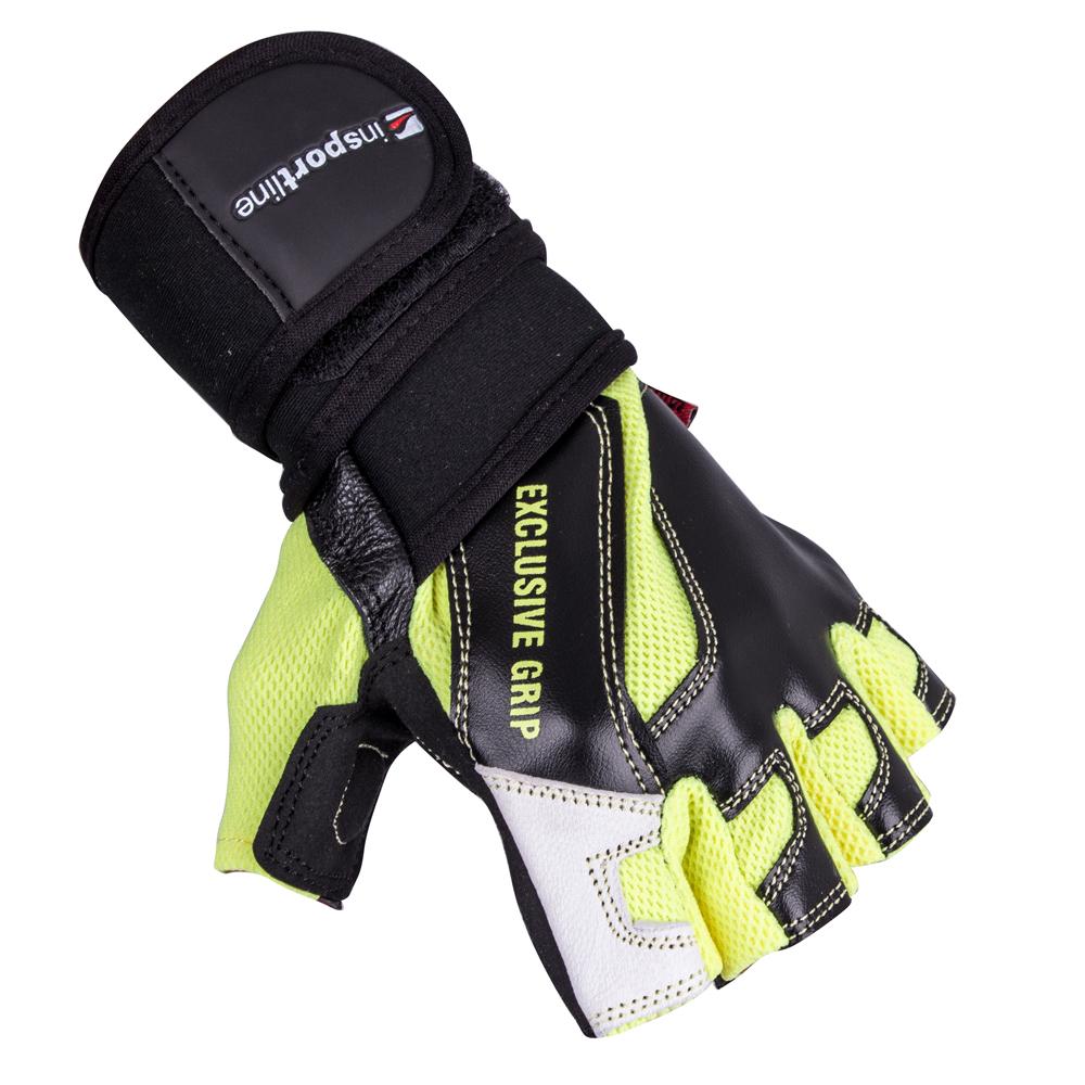 Kožené fitness rukavice inSPORTline Perian černo-žlutá - S