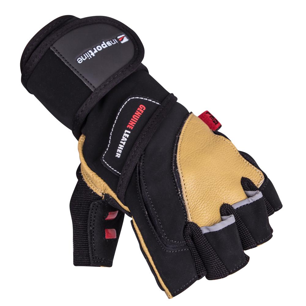Kožené fitness rukavice inSPORTline Trituro černo-žlutá - S