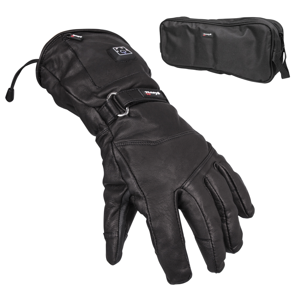 70eb77b9468 Kožené vyhřívané lyžařské a moto rukavice Glovii GS5 - černá ...