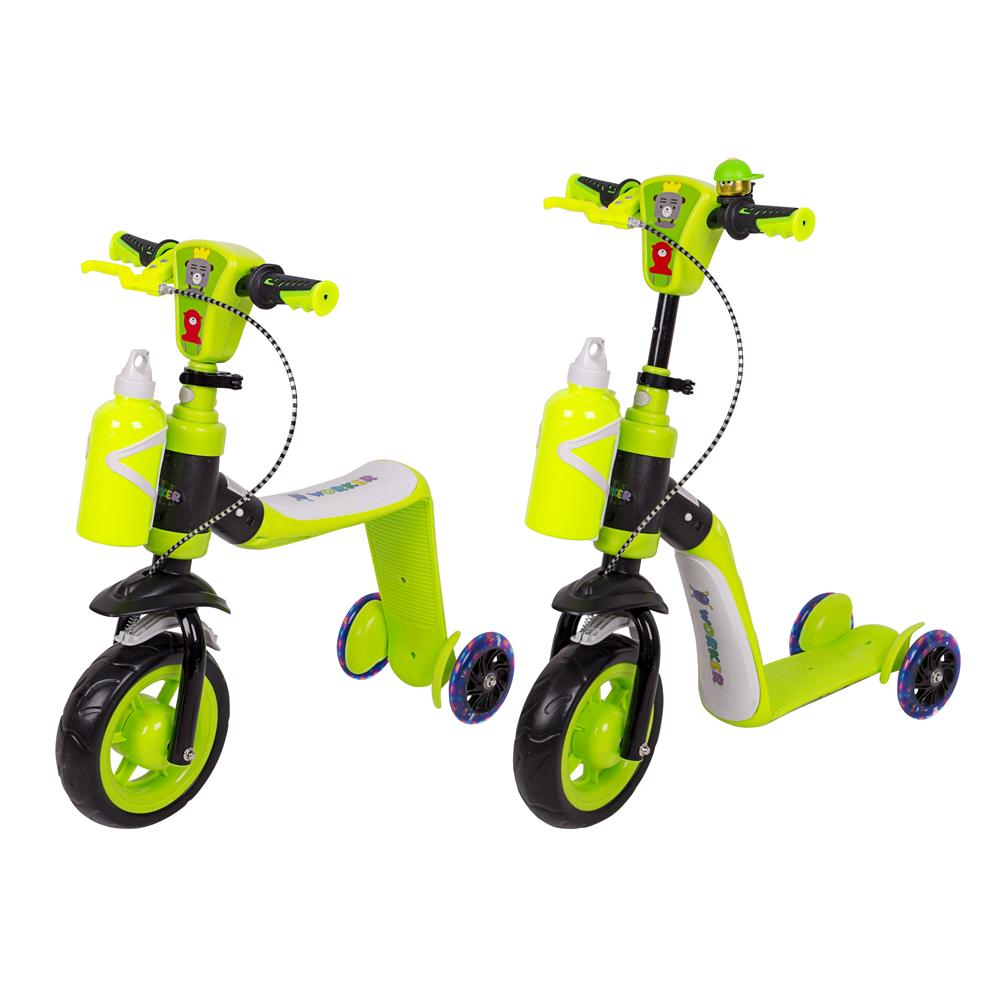 Trojkoloběžka 3v1 WORKER Noggio se svítícími kolečky zelená