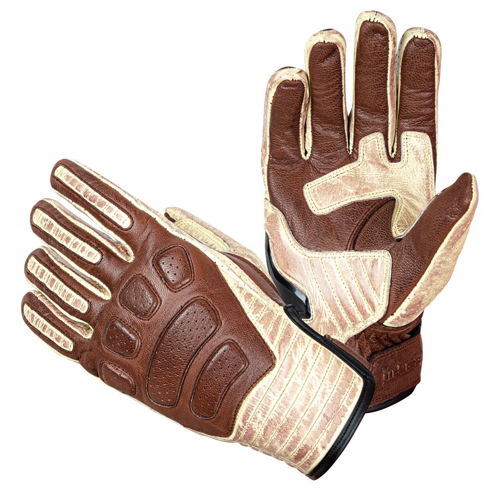Kožené moto rukavice W-TEC Retro Gloves  hnědo-béžová  S