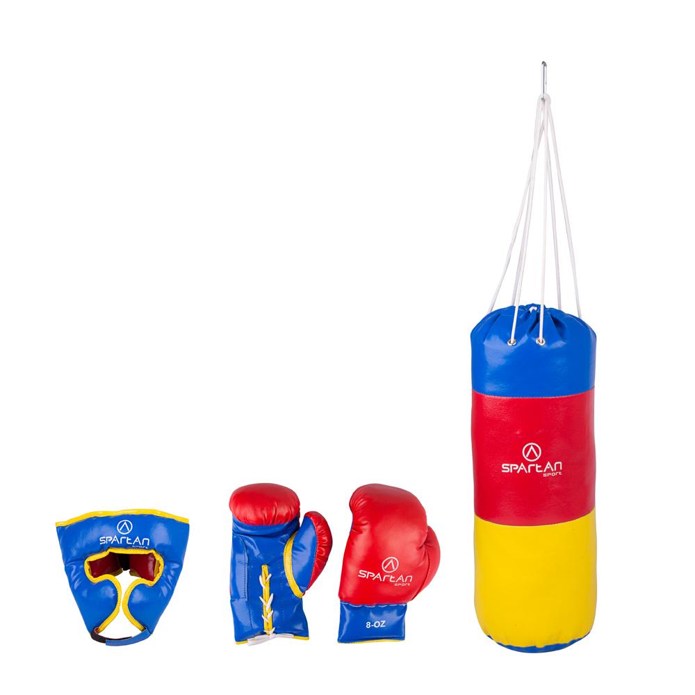 Boxovací set Spartan pytel 1 kg + chránič hlavy + rukavice