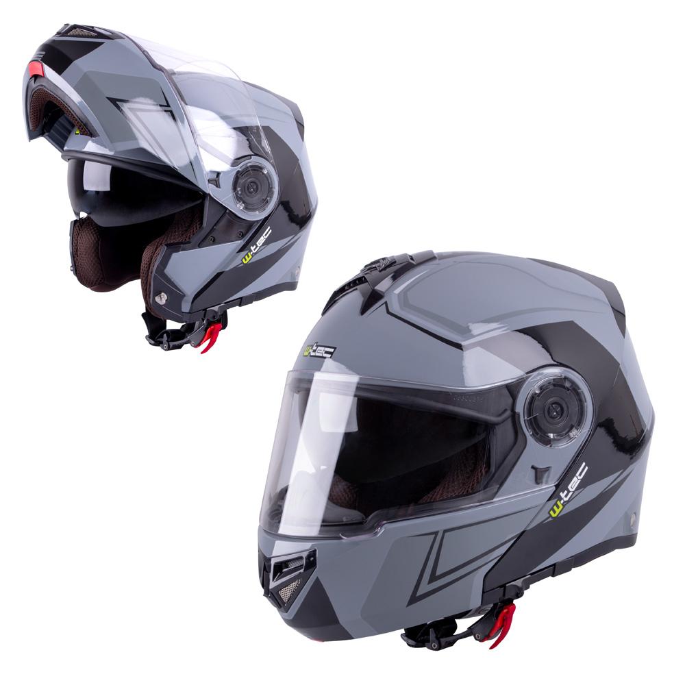 Výklopná moto helma W-TEC V270 černo-šedá - XS (54)