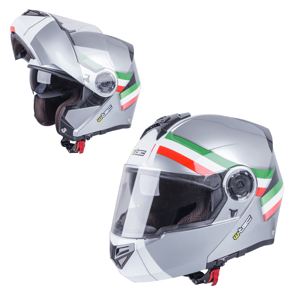 Výklopná moto helma W-TEC V270 šedá-trikolor - XS (54)